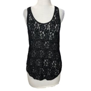 Aritzia Wilfred Madeline Tank Top Lace Black XS